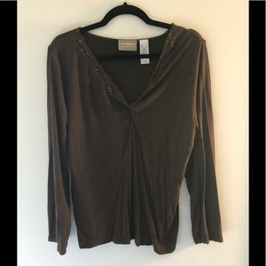 Long sleeve decorative v neck shirt